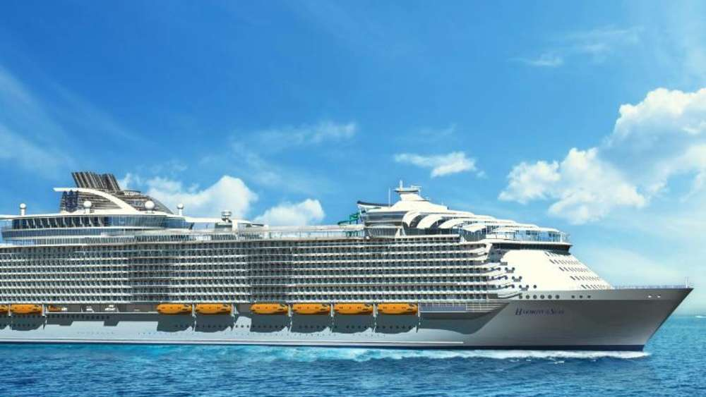 "So soll die ""Harmony of the Seas"" von Royal Caribbean aussehen, wenn sie im April 2016 vom Stapel gelassen wird. Illustration: Royal Caribbean International Foto: Royal Caribbean International"