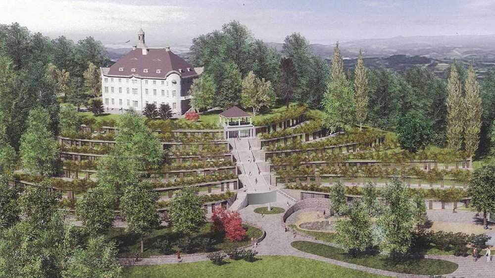 "So soll ""Hotel & Resort Schloss Hirschberg"" aussehen: Die Terrassen sind der geplante Neubau mit 149 Zimmern und Spa. grafik: Krause Bohne Architects+Planners International"