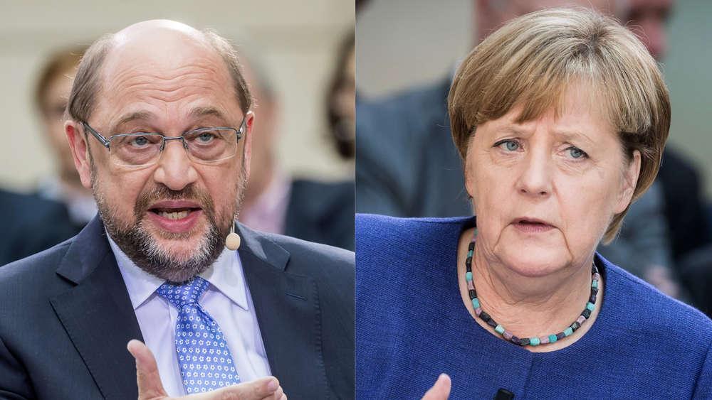 Ungleiches Duell? Kanzlerin Angela Merkel und SPD-Herausforderer Martin Schulz