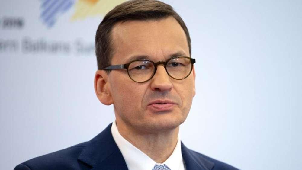 Mateusz Morawiecki Ministerpräsident von Polen spricht auf einer Pressekonferenz beim Westbalkan Gipfel im Juli 2019