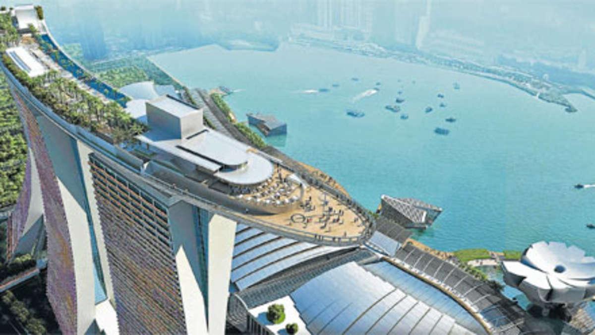 Singapur hat jetzt den h chsten hotelpool der welt reise - Singapur skyline pool ...