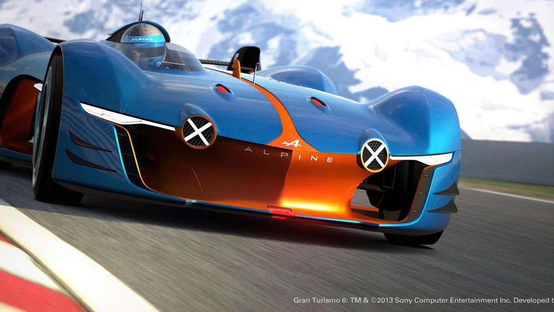 """Extrem flach, Schmetterlingstüren und offenes Cockpit - der Alpine Vision Gran Turismo wurde für das Sony-PS3-Spiel """"Gran Turismo 6"""" designt, nun gibt es den Boliden auch zum Anfassen."""