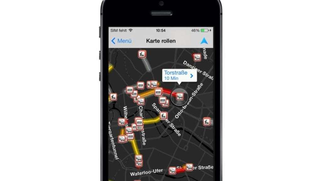 Beim Navi-App-Test der Stiftung Warentest schneidet die Navigation von Tomtom fürs iPhone am besten ab. Foto: Tomtom