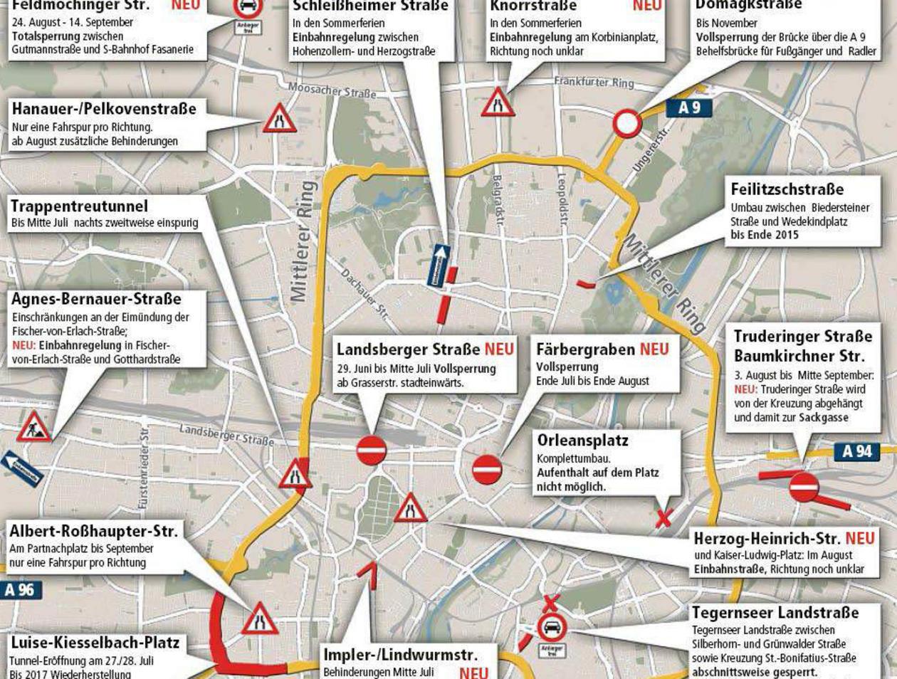 Stau Karte.Baustellen In München Hier Droht Der Sommer Stau Stadt München