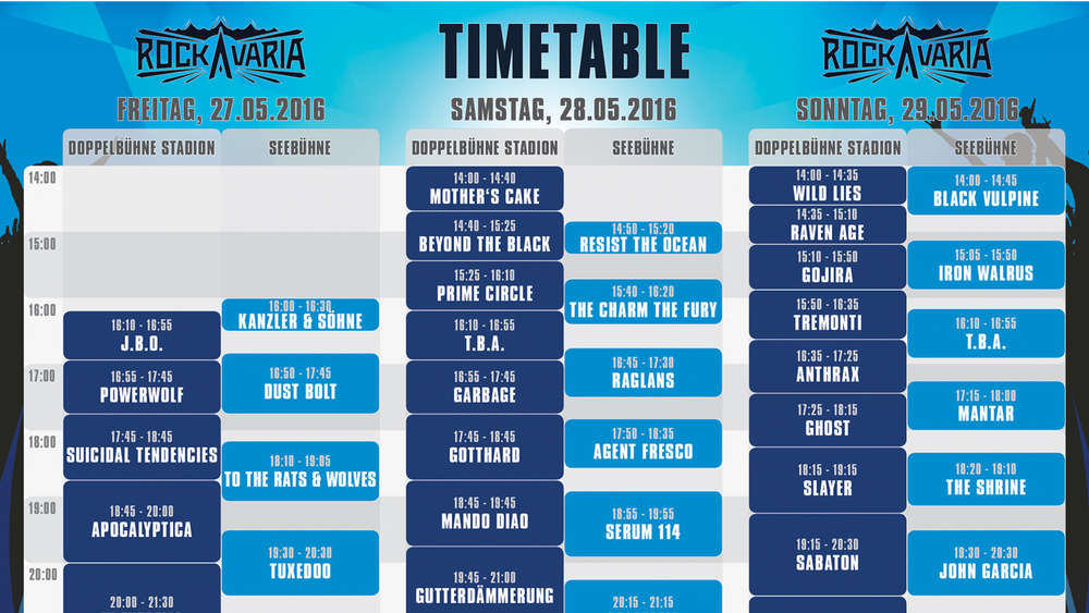 Rockavaria 2016: Hier gibt\'s die Running-Order - Zeitplan - welche ...