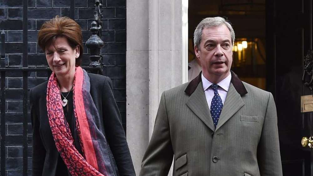 Diane James und Nigel Farage in London. Foto: Andy Rain/Archiv