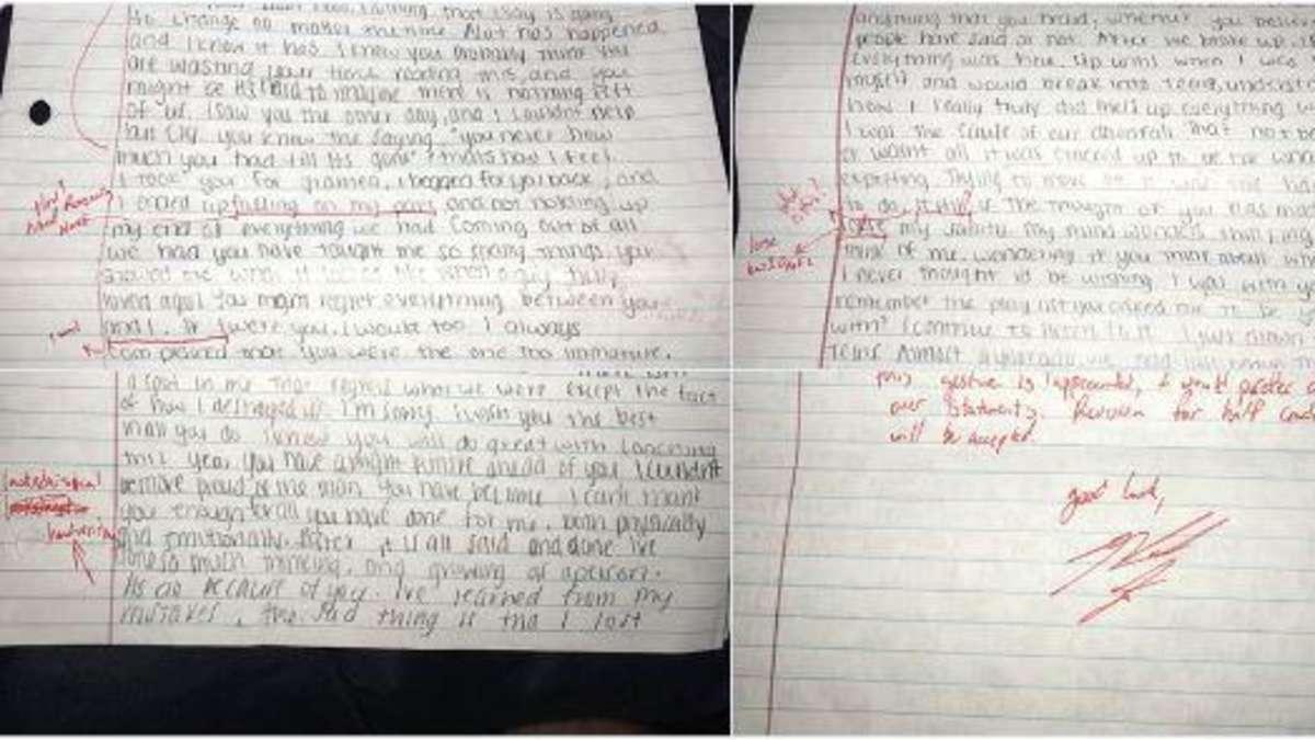 Studentin Schreibt Schlussmach Brief Und Wird Von Ex Freund