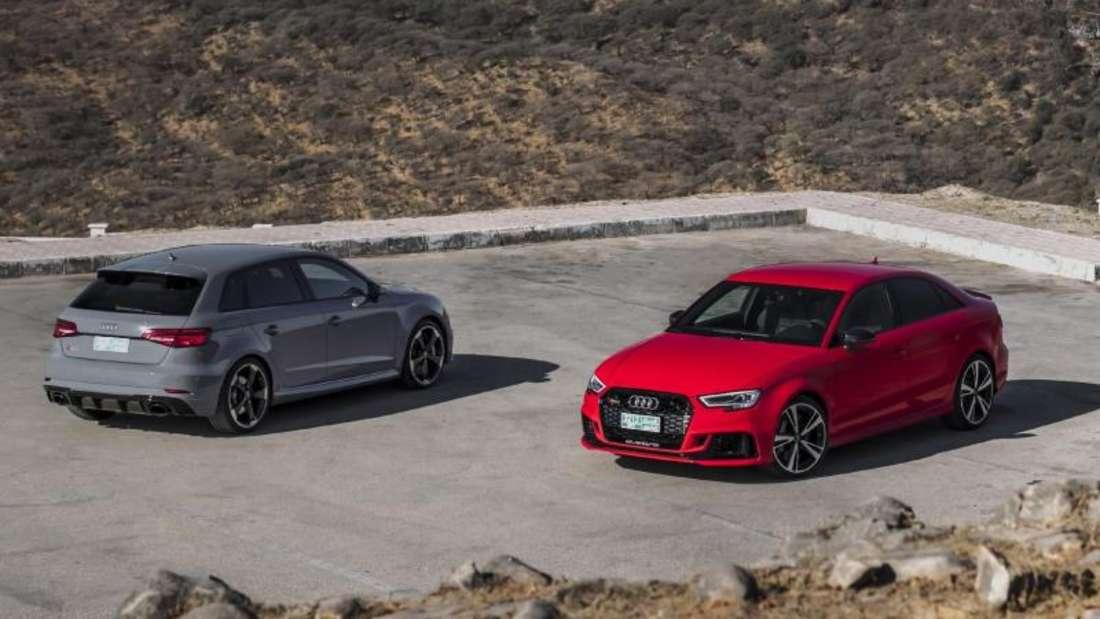 Potenter Doppelpack: Audi bringt den RS3 als Sportback (l) und als Limousine mit 294 kW/400 PS auf den Markt. Foto: Audi/dpa-tmn