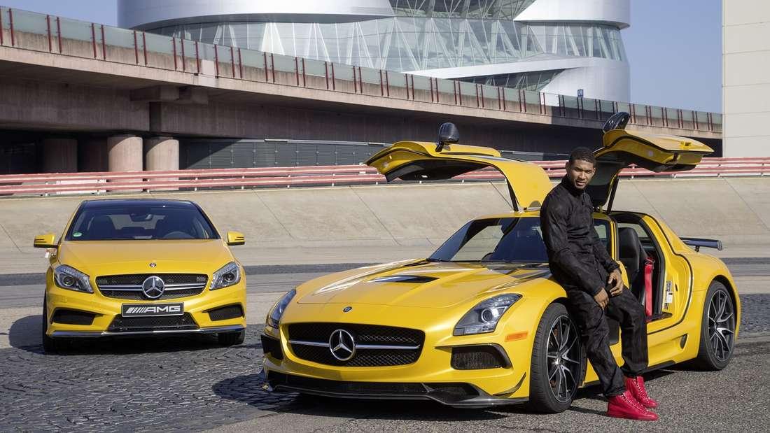 Usher fährt aufMercedesab: In seinem Besitz befindet sich ein leuchtend gelber Mercedes SLS AMG mit V8-Getriebe. Die letzten Teile des Motors montierteer sogar selbst.