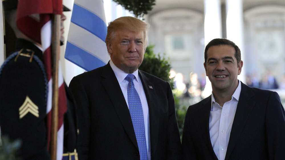 US President Donald Trump welcomes Greek Prime Minister Alexis Tsipras