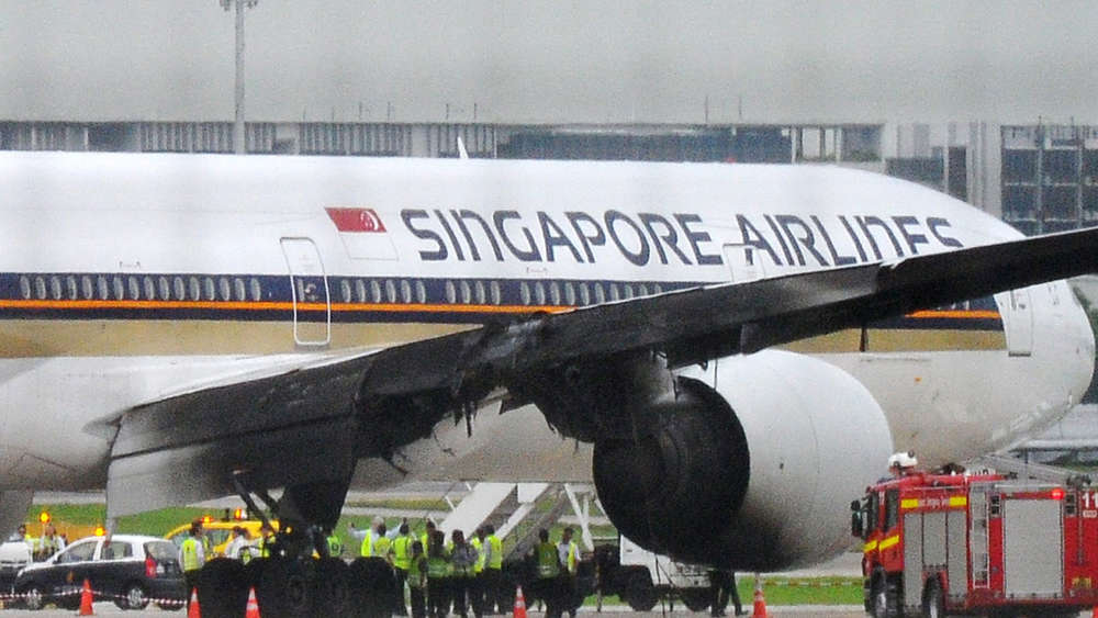Singapore Airlines plane catches fire after emergency landing at