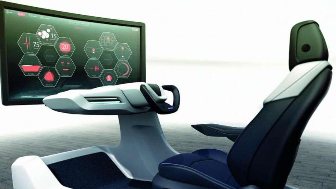 Mitdenkender Sitz: Künftig sollen Sitze wie dieser vom Zulieferer Faurecia Biodaten des Fahrers sammeln und etwa bei Stress die Massagefunktion oder die Sitzbelüftung aktivieren. Foto: Faurecia/dpa-tmn