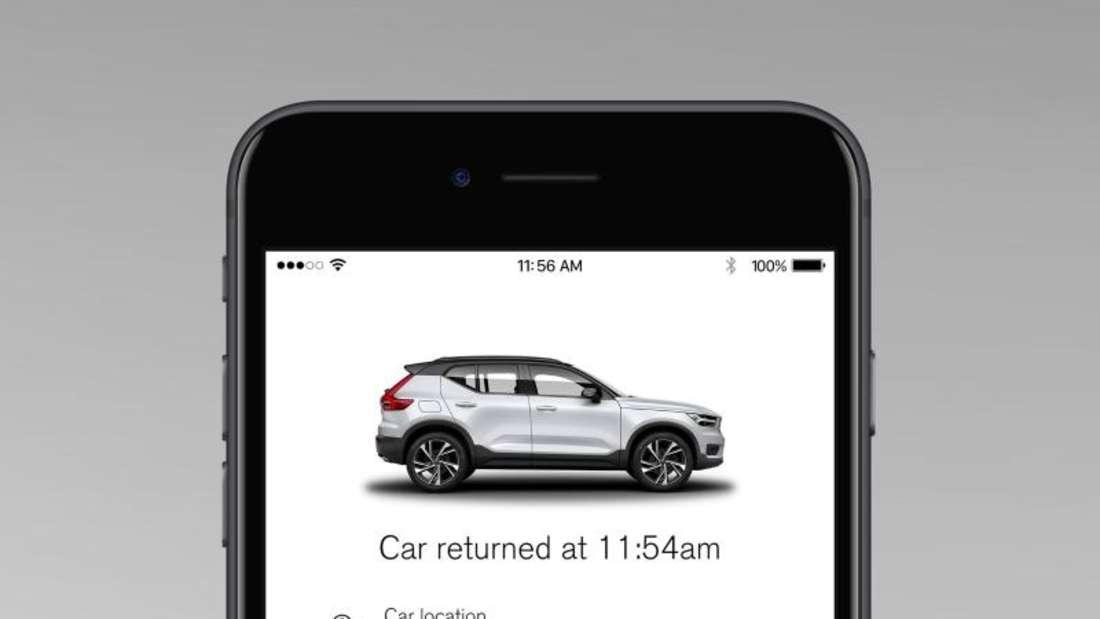 Ohne Schlüsselübergabe: Volvo arbeitet derzeit an einem Geländewagen, der sich mit einem zuvor freigeschalteten Smartphone öffnen und so von Fremden nutzen lässt. Foto: Volvo/dpa-tmn