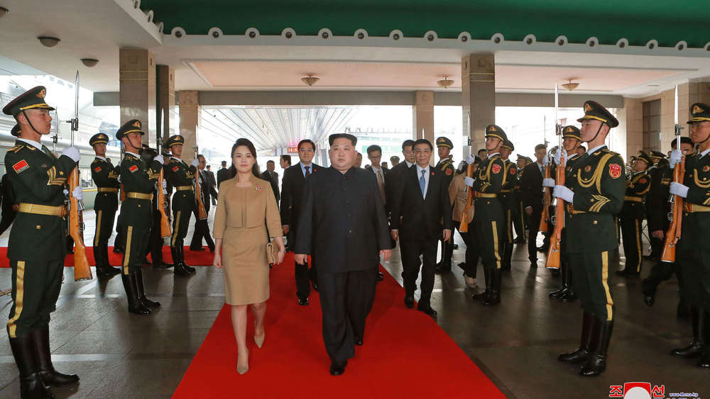 Kim Jong Un mit Frau in China.