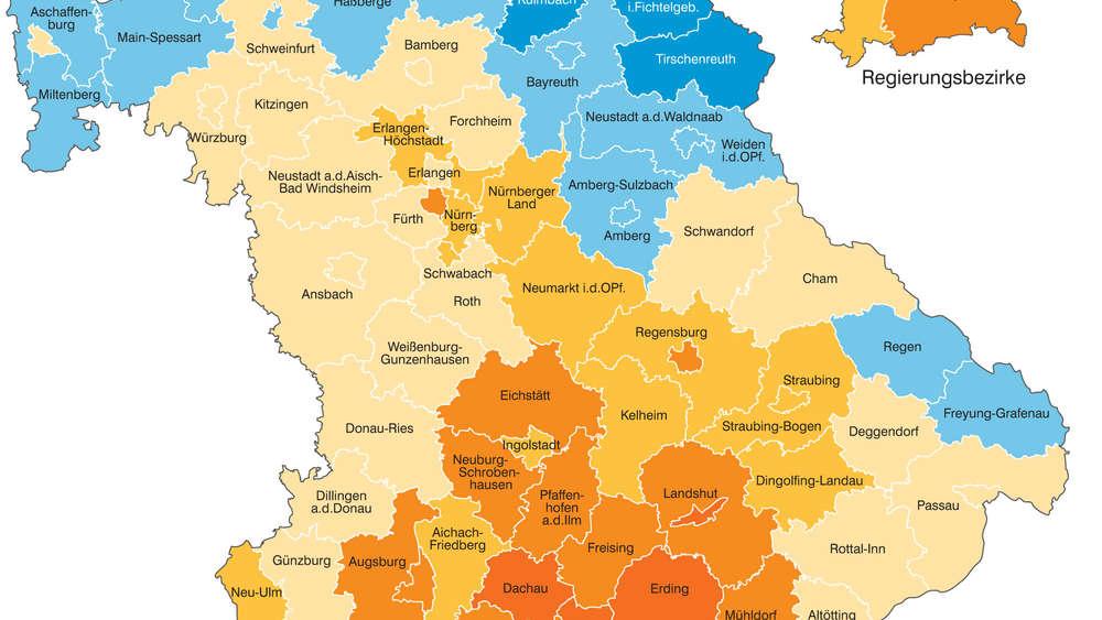 Karte Oberbayern Landkreise.Bayern In Welche Landkreisen Die Zuagroasten Hinziehen Bayern