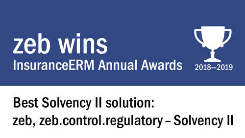 "Auszeichnung für Solvency-II-Software von zeb - ""InsuranceERM Awards"" als ""Best Solvency II Solution"" 2018/19"