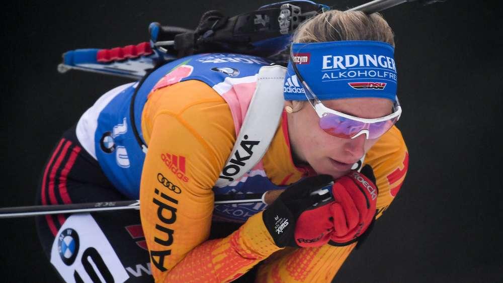 Eine gute Leistung zeigt Vanessa Hinz beim Heinweltcup in Oberhof.
