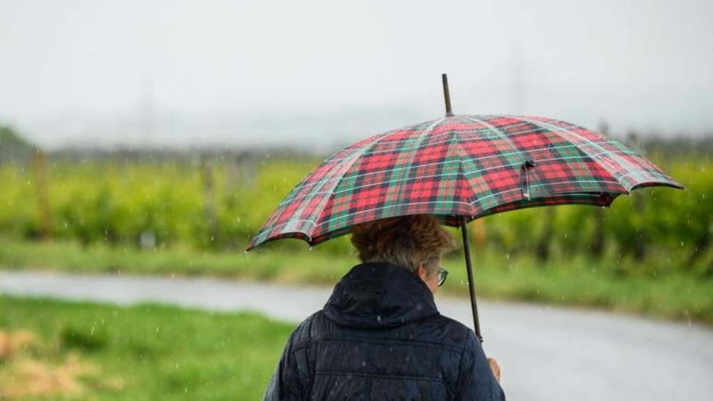 Spaziergang mit Regenschirm. Foto: Andreas Arnold/dpa