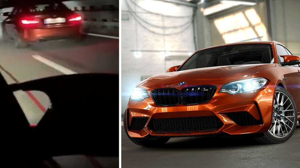 Ein BMW M2 Competition in Sunset Orange, der Ausschnitt eines TikTok-Videos. (Symbolbild)