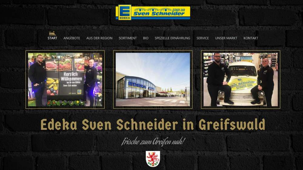 Screenshot der Homepage der Edeka-Filiale in Greifswald.