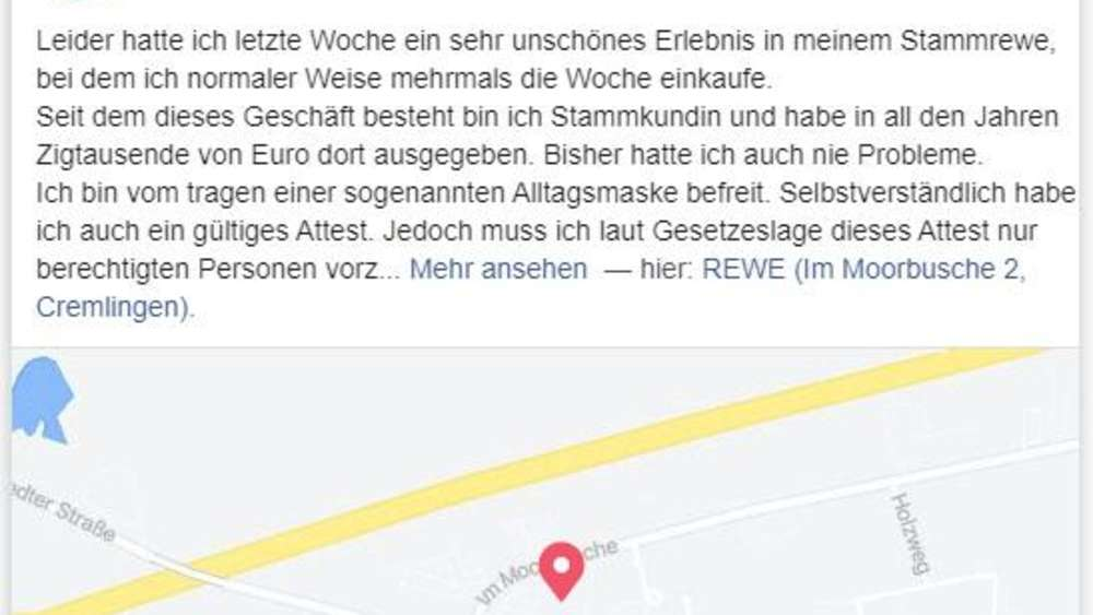 Facebook-Post einer Rewe-Kundin in Cremlingen.